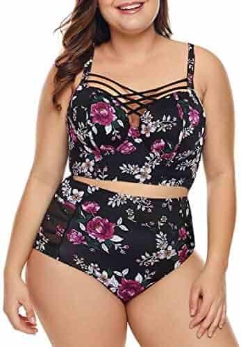 c0f4b847a1409 Dearlove Women's Plus Size Strappy High Waist Bikini Swimsuit M-XXXL