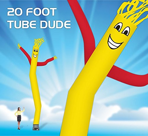 [20 Foot Fly Guy - Inflatable Dancer Tube Man - Sky Puppet Dancing Balloon. Fits all 18 inch fans. Yellow Body with Red Arms - Fabric] (Inflatable Wacky Waving Tube Man)