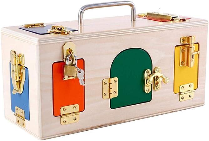 Augneveres Caja de Madera de Colores con 10 Puertas y pestillos Diferentes Toys, Juguete de Memoria para niños: Amazon.es: Hogar