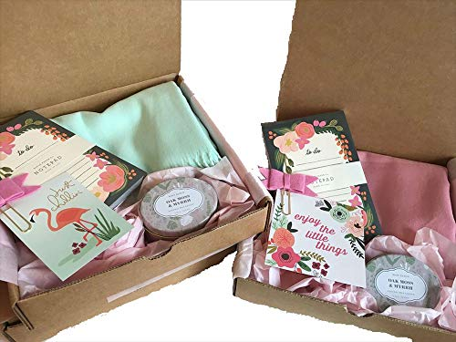 (Blush Gift Box Set - Winter/Spring Wrap Scarf, Candle, Floral Notebook, Quote. Mom, Daughter, Aunt, Grandma, Teacher, Wife, Friend. Anniversary,Birthday (Minty Aqua))