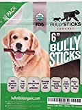 Bullysticks Organic 6'' Bully Sticks For Dogs - Big Bag 10 Pack ''ODOR FREE'' Dog Treats - All Natural Premium Beef - USDA/FDA Approved Hand Inspected Healthy Treat - 100% Happiness Guarantee! (6 Inch)