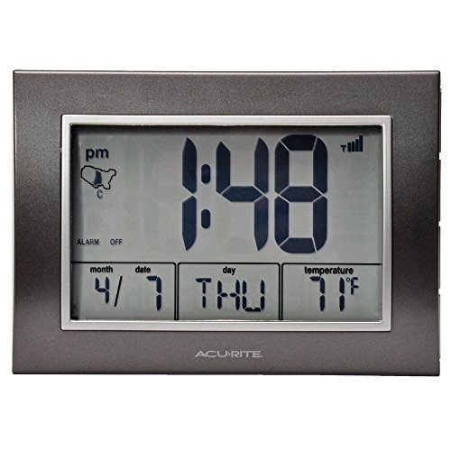AcuRite Atomic Alarm Clock with Date, Day of Week and Temperature, Grey