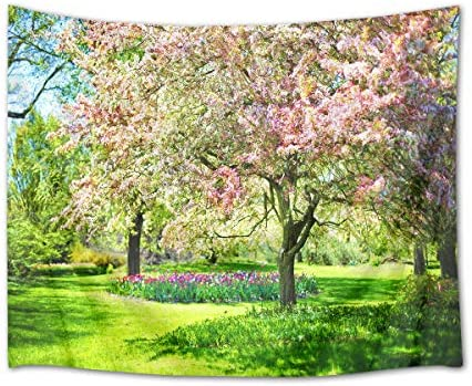 HVEST Cherry Blossom Tapestry Pink Flowers on The Tree in Green Garden Wall Hanging Spring Scenery Tapestries for Bedroom Living Room Dorm Decor,92.5Wx70.9H inches