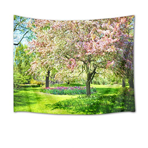 HVEST Cherry Blossom Tapestry Pink Flowers on The Tree in Green Garden Wall Hanging Spring Scenery Tapestries for Bedroom Living Room Dorm Decor,80Wx60H ()