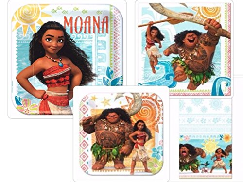 Costume SuperCenter Disneys Moana Party Supplies Pack Including Plates, Napkins and Tablecover for 16