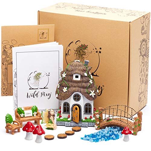 WILD PIXY Fairy Garden Accessories Kit – Miniature House and Figurine Set for Girls, Boys, Adults – with Magical Glow In The Dark Pebbles and Solar LED Lights