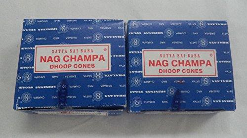Satya Sai Baba Nag Champa Incense Dhoop Cones, Pair of 12 Cone Boxes - (IN11)