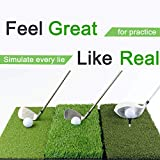 SUNHOO Golf Hitting Mat Mini, Turf Grass 3-in-1