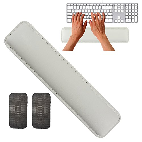 Keyboard Wrist Rest by Rancco, 14.5 Leatherette Stitched Edge Soft Memory Foam Gaming Mouse Wrist Cushion Pad w/Non-Skid Mat for Notebook/Desktop, Suit for Offices, Home