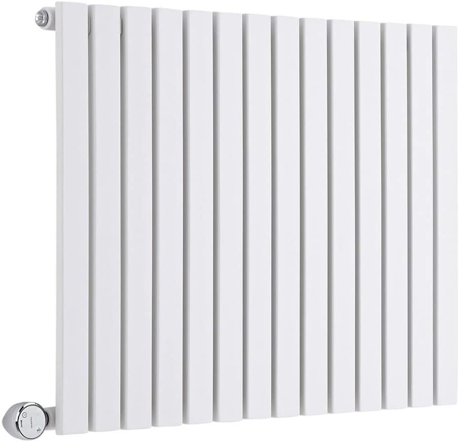 Horizontal Flat Panel Designer Radiator Milano Capri Electric 635mm x 420mm White