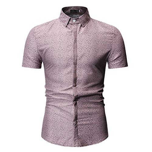 - YOcheerful Men's Tops Summer Print Shirts Turn-Down Collar Slim Fit Short Sleeve Tops Casual Shirts Button Up Blouses(Khaki, 2XL)