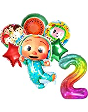 Cocomelon Birthday Party Supplies, 6 Pcs Cocomelon Aluminum Foil Balloon with 40 inch Number Rainbow Balloon for Kids 2nd Birthday Party Decoration Birthday Anniversary Party Supplies