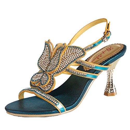 mujer tacón Zapatos Win8Fong Blue 1 de ptYyq8
