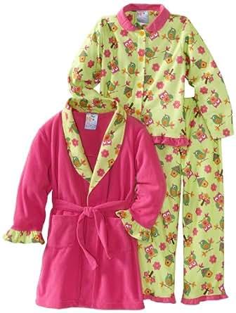 Baby Bunz Little Girls'  Birdies 3 Piece  Pajama Set, Light Green/Pink, 4