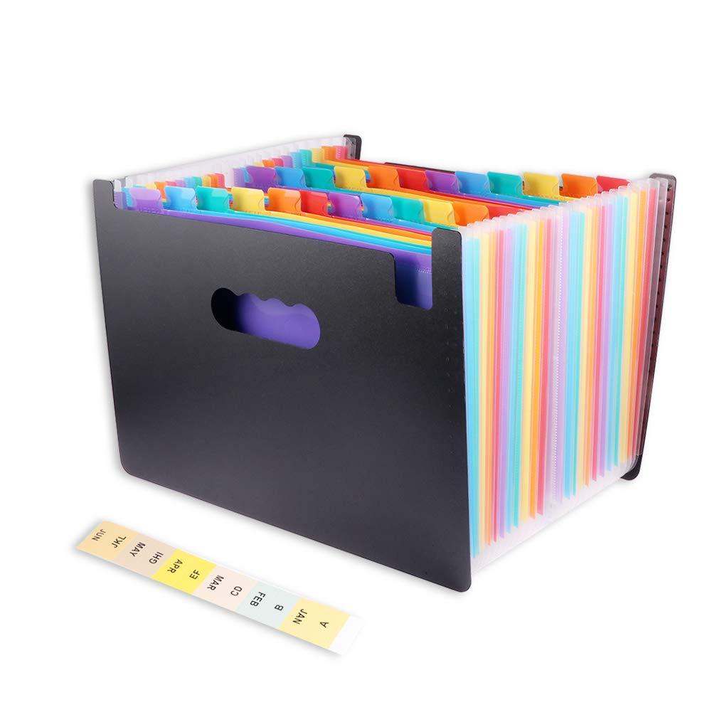 Carpetas de Acorde/ón 24 Pockets Sorters Port/átil Organizador Documentos para A4 Carpeta archivadora en forma de acorde/ón File organizer Carpetas de Acorde/ón