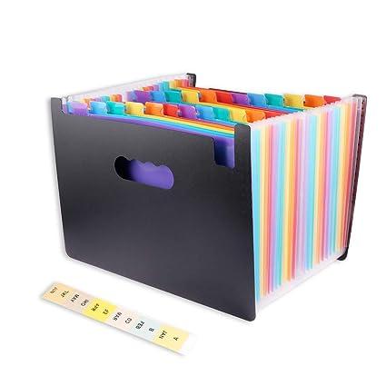 Carpetas de Acordeón, 24 Pockets Sorters Portátil Organizador Documentos para A4, Carpeta archivadora en