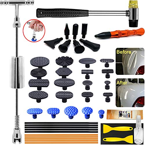Manelord Auto Body Dent Repair Tool - Dent Repair kit with Slide Hammer T bar Dent Puller for Car Body Hail Dent Removal Dent Remover Automobile Body Repair (Best Paintless Dent Removal)
