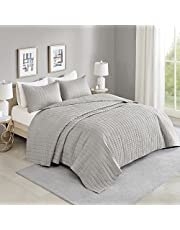 """Comfort Spaces Kienna Quilt Set-Luxury Double Sided Stitching Design All Season, Lightweight, Coverlet Bedspread Bedding, Matching Shams, Oversized King (120""""x118""""), Gray"""