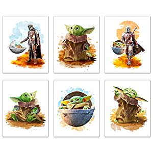 Baby Yoda Mandalorian Prints – Set of 6 (8 inches x 10 inches) Wall Art Decor Poster Photos – Star Wars TV Series Pedro Pascal