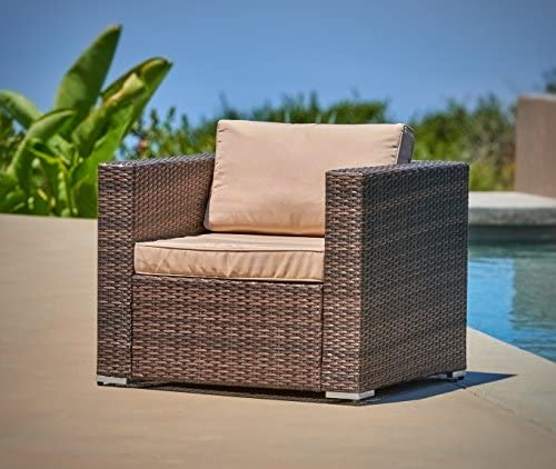 SUNCROWN Outdoor Patio Furniture Brown Checkered Wicker Sofa Chair, Additional Chair with Machine Washable Cushion Covers, Backyard, Pool
