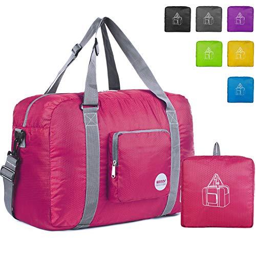 """18"""" Foldable Duffle Bag 30L for Travel Gym Sports Lightweight Luggage Duffel By WANDF, Fuchsia"""