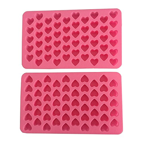 (Cherion Silicone Mini Heart Shape Ice Cube Candy Ice Cube/Chocolate Mold Pink Pack of 2)