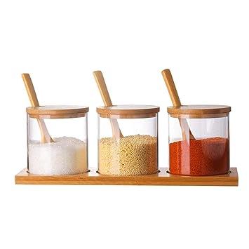 talogca Botella de condimento de Vidrio Cocina Gourmet Caja de condimento con cucharas de Servir,