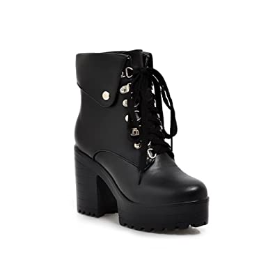 Women's Patent Leather Solid Closed-Toe Boots With Rough Heels and Platform