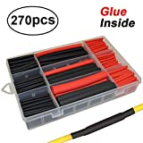 270pcs 3:1 Dual Wall Adhesive Heat Shrink Tubing Kit, 5 Sizes (Diameter): 3/8, 1/4, 3/16, 1/8, 3/32 inch, Marine Wire Cable Sleeve Tube Assortment with Storage Case for DIY by MILAPEAK (Black & Red): more info