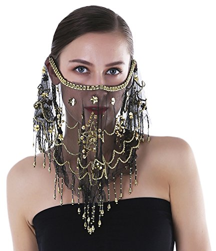 Seawhisper Arabian Belly Dance Sequins Tribal Face Veil With Beads Halloween Costume Accessory ()