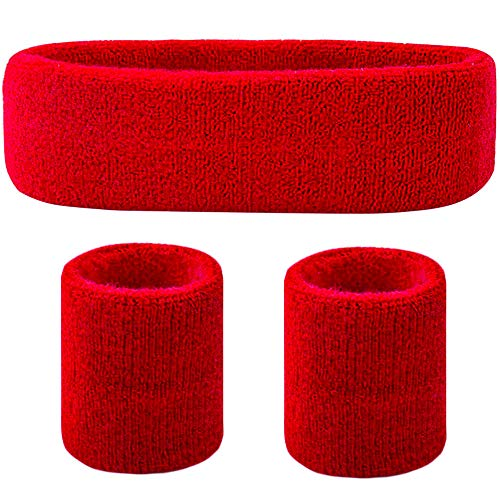 Favofit Headband/Wristbands for Women Men Girls Boys for Gym Workout & Yoga, 3 Pack, Super Comfy Sports Sweatbands for Football Baseball Basketball Soccer & Tennis, Sweat Out of Your Eyes & Wrists -