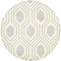 Safavieh Chatham Collection CHT760E Handmade Grey and Ivory Premium Wool Round Area Rug (5 Diameter)