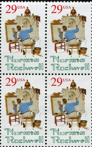 NORMAN ROCKWELL ~ ARTIST SATURDAY EVENING POST ~ #2839 Block of 4 x 29¢ US Postage ()
