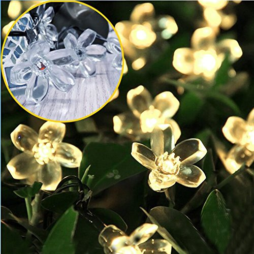 SEMILITS Solar Powered String Lights Outdoor Waterproof 50LED Peach Blossom Xmas Decorations for Garden Patio Warm White (Blossom Light Three)
