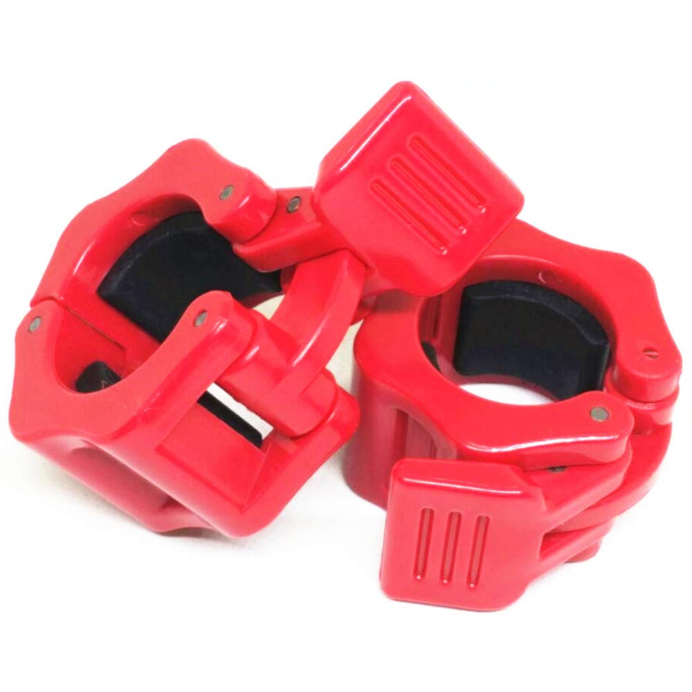 Weightlifting Barbell Clamp Collar-Olympic Barbell Collars-Quick Release 2 Pair of Locking 1Inch Olympic Bar - Great for Cross Fitness Training,Red by GDSZ (Image #5)