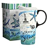 CEDAR HOME Travel Coffee Ceramic Mug Porcelain Latte Tea Cup With Lid in Gift Box 17oz. North Beach
