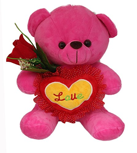 Tickles Pink Teddy with Love Heart and Roses
