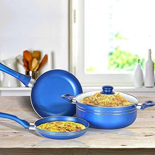 4 PCS Non-Stick Cookware Set in Blue Color, Induction Compatible Oven Safe Ceramic Pots and Pans Cookware set Including Frying Pan, Sauce pot with Detachable Handle & Steam Vented Glass Lid