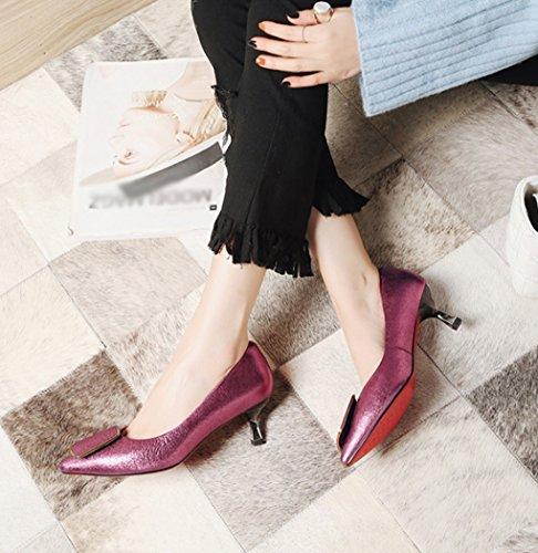 et Chaussures Rouge Rose 36 Femmes Profonde Rouge Rose pour l'été Simples Moyen Taille en Talon et Bouche Printemps Chaussures Pointues l'Amérique Cuir Le LBDX l'europe Peu Mode véritable Couleur SqEIw