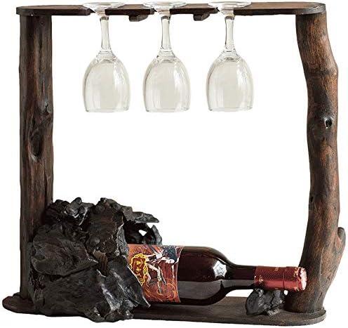 ワイングラスラック ソリッドウッドワインは、装飾逆さま家庭ゴブレットワインボトルラックラック ステムウェアラック (色 : 褐色, Size : 37x42cm)