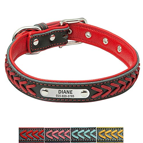 YVYOPET Leather Padded Custom Dog Collar Braided Leather Personalized Name Phone Number Pet ID Tag Collars for Puppy Cat Small Medium Large - Red (GX07) ()