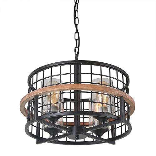 Giluta Rustic Round Chandelier Island Pendant Lighting Fixture 4-Lights with Seeded Glass Shade, Industrial Drum Chandelier for Dinning Room Living Room Doorway Farmhouse Foyer Bar, Black C0050