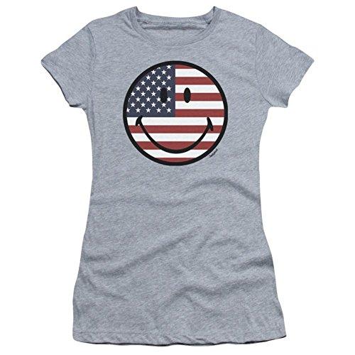 d- American Flag Face Juniors (Slim) T-Shirt Size L ()
