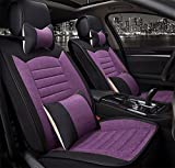 CAR Five-Seats Car Universal Car Seat Cover With Headrest and Lumbar Support , purple