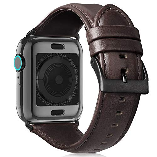 Jakpas Leather Bands Compatible for Apple Watch Band 44mm 42mm , Men Women Replacement Genuine Leather Strap for iWatch Series 6 5 4 3 2 1 Sport and Edition
