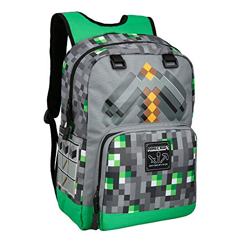 JINX Minecraft Emerald Survivalist Kids School Backpack, Green, 17