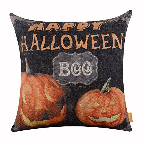 LINKWELL 18x18 inches Happy Halloween Horrible Pumpkin BOO Latern Burlap Cushion Cover CC1185