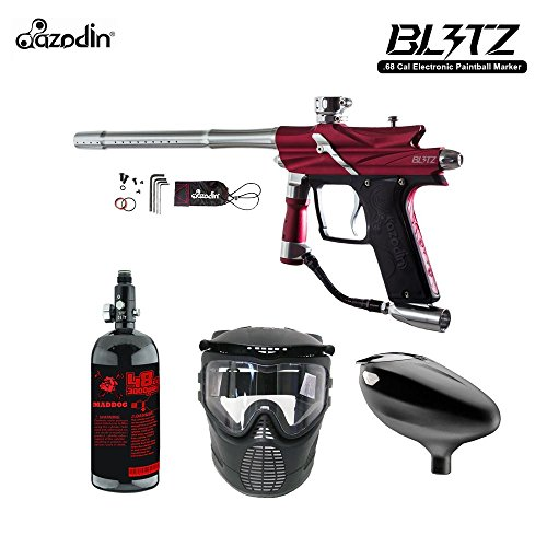 Azodin Blitz 3 Beginner HPA Paintball Gun Package - - Paintball Hopper Red