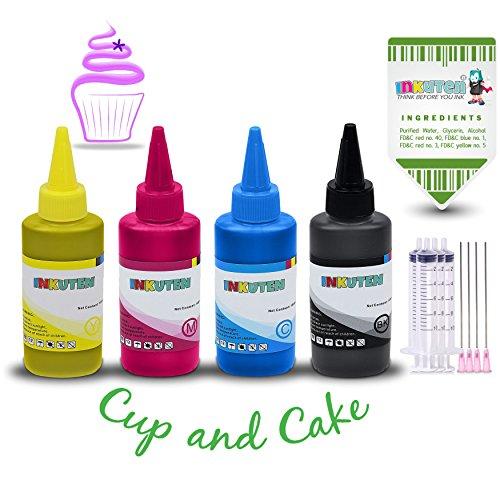 INKUTEN 4 Botellas de tinta Comestible de 120ml para usar con Cartuchos Canon.