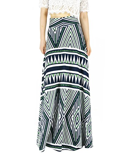 YSJERA Women's High Waist A-Line Pleated Solid Vintage Swing Maxi Skirts Midi Skirt Party (16 Plus, Green) by YSJERA